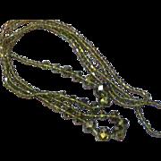 Swarovski Mink Aurora Borealis Crystal Beaded Long Flapper Necklace