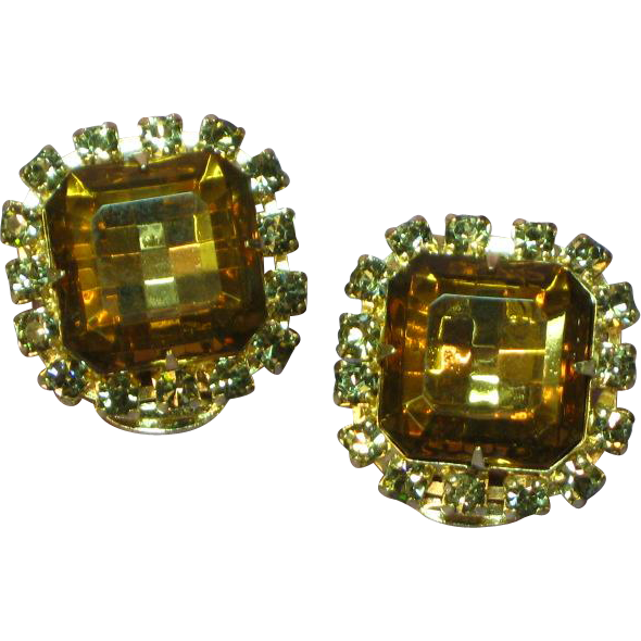 Sensational Large Square Cut Topaz and Black Diamond Crystal Rhinestone Clip Earrings