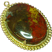 Gorgeous Large Genuine Stone Red Poppy Jasper Pendant