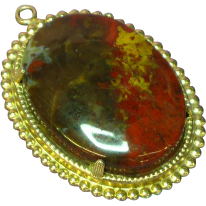 Gorgeous Large Genuine Stone Red Poppy Jasper Pendant