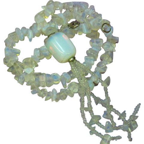 Opaline Opalite Glass Bead Tassel Necklace