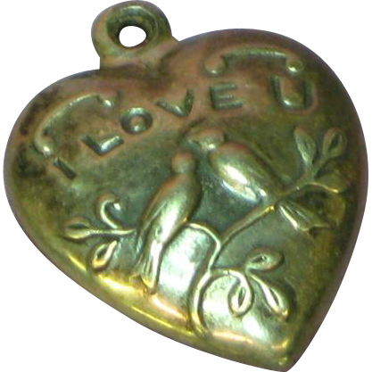 Sterling Love Bird I Love U Puffy Repousse Heart Charm