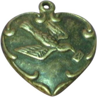 Puffy Heart Sterling  Messenger Bird with Letter Repousse Charm