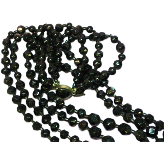 Black Faceted Glass Bead Triple Strand Necklace