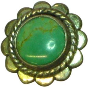 Fred Harvey Native American  Sterling Silver Turquoise Lapel Pin Tie Tac