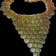 Vendome Signed Big Lacy Gold Daisy Filigree Bib Necklace