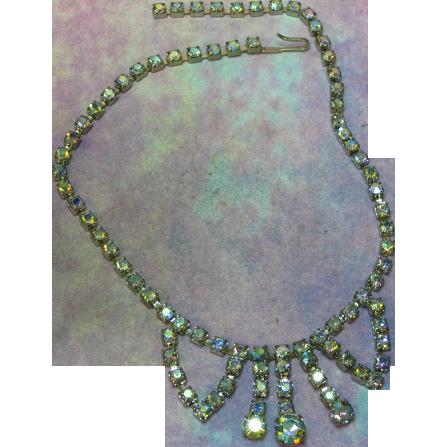 Rhinestones Impressive Vitrail Blue Designer Necklace