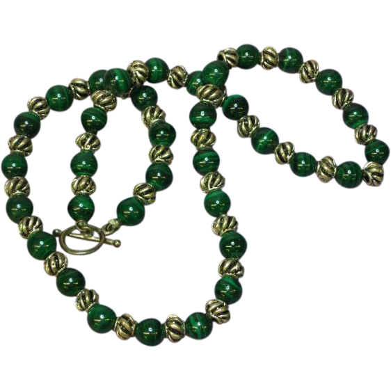 Gemstones Malachite Sterling Silver Beaded Necklace
