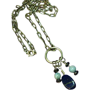 Gemstones Peruvian Opal Sterling Silver Lapis Necklace