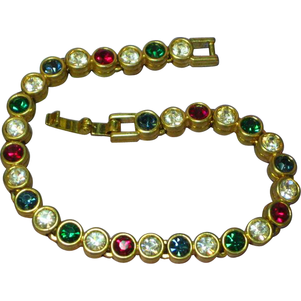 Rhinestones Christmas Colors Bright Goldtone Tennis Bracelet