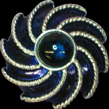 Gorgeous Cobalt Blue Cabochon Enamel Pin Brooch Scarf Clip