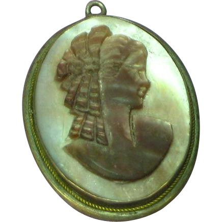 Early 800 Silver Signed Mother of Pearl Cameo Necklace Pendant