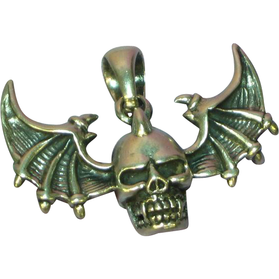 Skull Bat Wings Large Sterling Silver Pendant