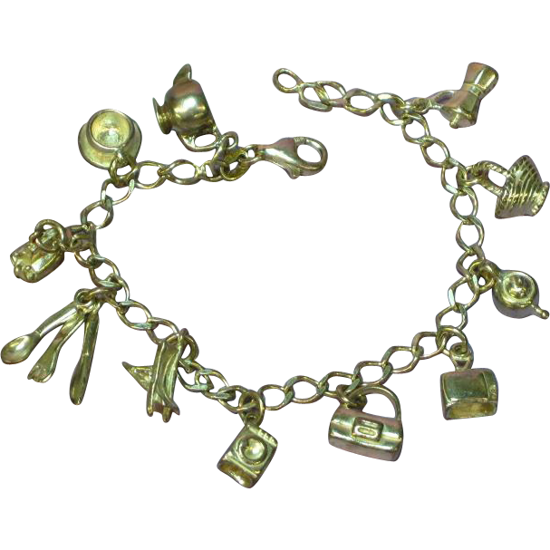 Charm Bracelet Marked Italy HAN Solid Sterling Silver 11 Charms
