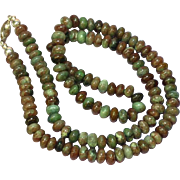 Gemstones Rainbow Tourmaline Moss and Picture Agates Rondell Bead Multi Color Necklace