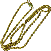 """14k Yellow Gold Diamond Cut Solid Rope Chain 20"""" Necklace"""