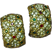 Rhinestones Couture Mogul Design Large Clip Earrings