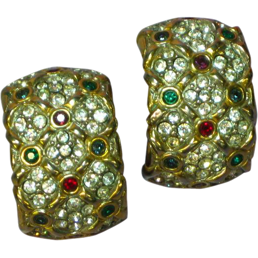 Rhinestones Couture Mogul Design Large Clip Earrings