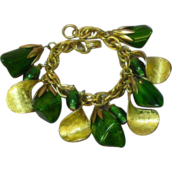Bakelite Green Gold tone Dangle Large Charm Bracelet