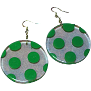 Retro Wild Fun Funky Lucite Polka Dot Pierced Earrings