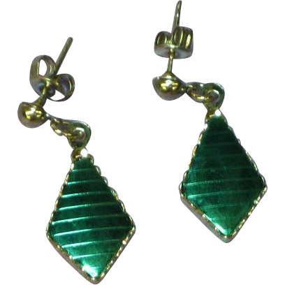 Green Iodized Metal Silver Pierced Earrings