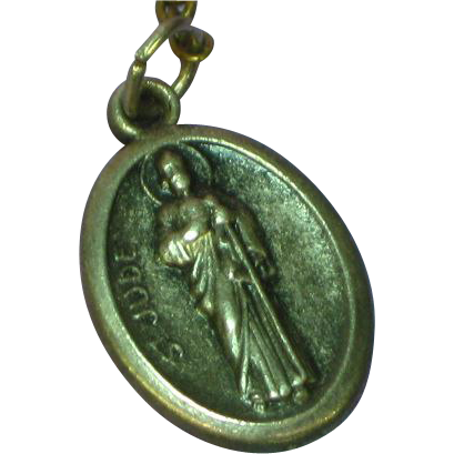 Religous Medal St. Jude Pray for Us Raised Relief Design Sterling Charm Pendant