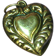 Puffy Heart 1940s Sterling Witch's Heart Shape Charm Pendant