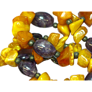 Amber and Polished Genuine Amethyst Chunks Necklace