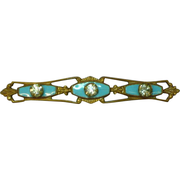 Enamel Wonderful Baby Blue 1930's Rhinestone Bar Pin