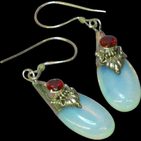 Opalescent Opalite Opaline Glass Dangle Sterling Silver Garnet Pierced Earrings