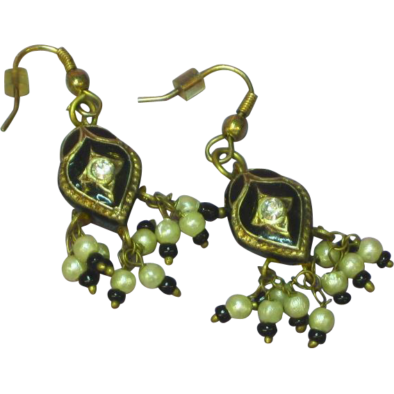 Enamel Black Vintage Seed Pearl 3-D Chandelier Pierced Earrings