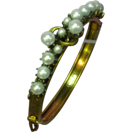 Florenza Signed  Faux Pearl Hinged Brass Bangle Bracelet