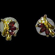 Rhinestones Garnet Gold tone Pierced Earrings