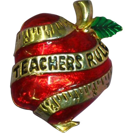 Enamel Red Apple Teachers Rule AAi Jewelry Pin Brooch