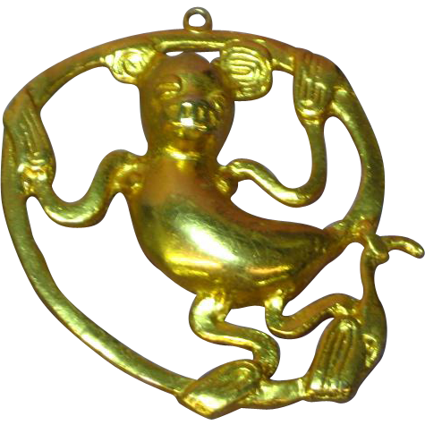 Alva Studios Gold Plated Monkey / Mouse Pendant