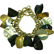Bakelite Gold Tone Shells  Mother of Pearl Charm Bracelet