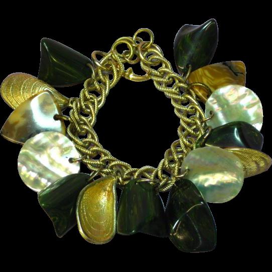 Bakelite Gold Tone Shells  Mother of Pearl Charm Bracelet