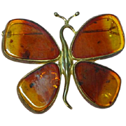 Amber Genuine Baltic Large Butterfly 925 Sterling Silver Brooch Pin Pendant