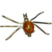 Amber Genuine Honey Sterling Silver Spider Pin Brooch
