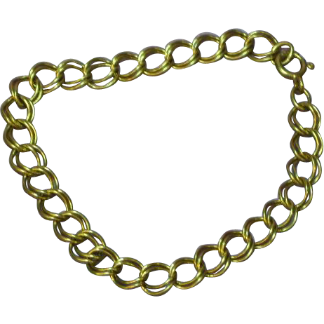 "Sterling Vermeil Vintage Double Link 7"" Charm Bracelet"