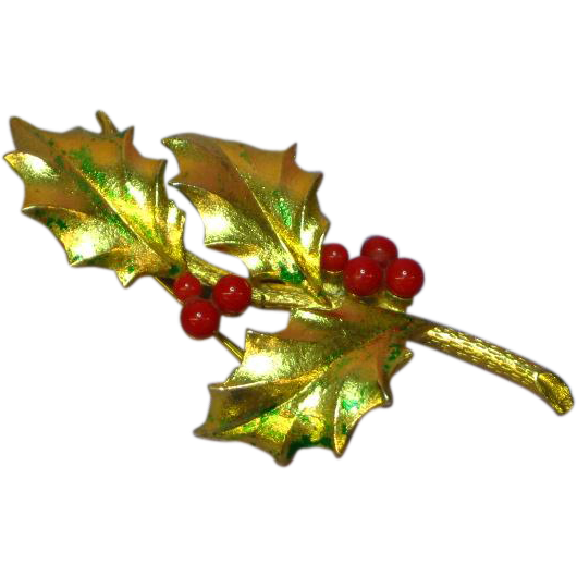 Mylu Signed Christmas Holiday Holly Berries Gold tone Pin Brooch