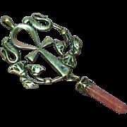 Egyptian Revival Ankh Sterling Silver Rhodochrocite Pendant