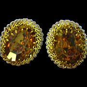 Austrian Signed Shimmering Topaz Art Glass Clip Earrings