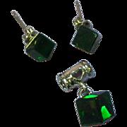 Crystal Deep Dark Forrest Green Square Earrings Pendant Set