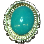 Native American Indian Sleeping Beauty Turquoise Sterling Silver Necklace Pendant