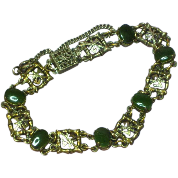 Wells Sterling Silver Green Jade Link Chinese Characters Bracelet