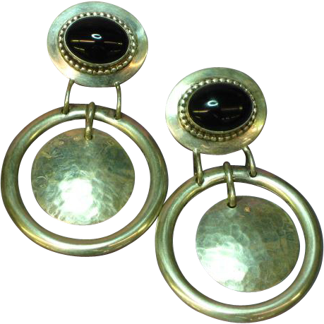 Designer Signed 1989 Huge Onyx Sterling Silver Dangle Pierced Earrings