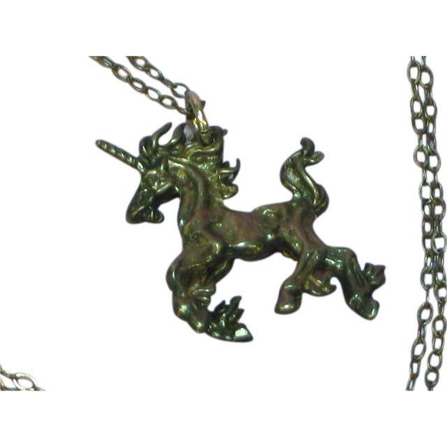 Unicorn Figural Oxidized Sterling Silver Designer Necklace
