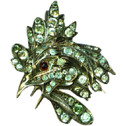 Sterling Silver Victorian Blue Stones Garnet Crowing Rooster Brooch Pin