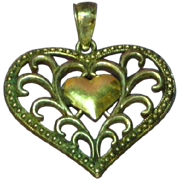 14K Gold Sterling Silver Filigree Fancy Heart Charm Pendant